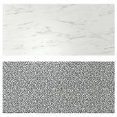 ЛИЗЕКИЛЬ Настенная панель, двусторонний под белый мрамор, черный/белый мозаичный орнамент, 119.6x55 см