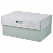 ХЮВЕНС Коробка с крышкой, серо-зеленый белый, бумага, 33x23x15 см