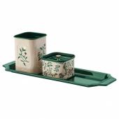 АНИЛИНАРЕ Набор д/письменного стола, 4 предм., бежевый зеленый, с цветочным орнаментом металлический