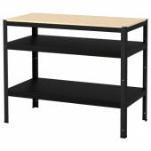 БРУР Стол-стеллаж, черный, сосновая фанера, 110x55 см