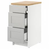 КНОКСХУЛЬТ Напольный шкаф с ящиками, серый, 40 см