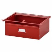ИВАР Ящик, красный, 39x30x14 см