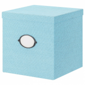 КВАРНВИК Коробка с крышкой, синий, 30x30x30 см
