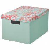 ТЬЕНА Коробка с крышкой, цветок, светло-зеленый, 25x35x20 см
