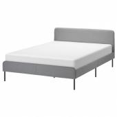СЛАТТУМ Каркас кровати с обивкой, Книса светло-серый, 140x200 см