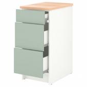 КНОКСХУЛЬТ Напольный шкаф с ящиками, серо-зеленый, 40 см