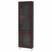 БЕСТО Комбинация д/хранения+стекл дверц, черно-коричневый глассвик/сталларп, темный красно-коричневый прозрачное стекло, 60x22x202 см