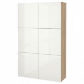 БЕСТО Комбинация для хранения с дверцами, под беленый дуб, Сельсвикен глянцевый/белый, 120x40x192 см