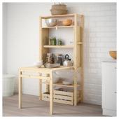 ИВАР 1 секция д/хранения+складной столик, 89x30-104x179 см