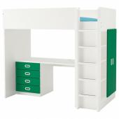 СТУВА / ФРИТИДС Кровать-чердак/4 ящика/2 дверцы, белый, зеленый, 207x99x182 см