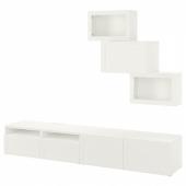 БЕСТО Шкаф для ТВ, комбин/стеклян дверцы, белый, Ханвикен белый прозрачное стекло, 240x42x190 см