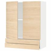 МЕТОД / МАКСИМЕРА Навесной шкаф/2дверцы/2ящика, белый, Аскерсунд под светлый ясень, 80x100 см