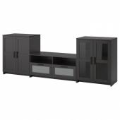 БРИМНЭС Шкаф для ТВ, комбин/стеклян дверцы, черный, 276x41x95 см