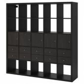 КАЛЛАКС Стеллаж с 10 вставками, черно-коричневый, 182x182 см