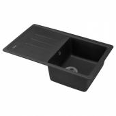 ЭСКЕЛЕН Одинарная врезная мойка с крылом, темно-серый, кварцевый композит, 78x50 см