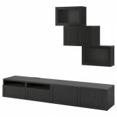 БЕСТО Шкаф для ТВ, комбин/стеклян дверцы, черно-коричневый, Ханвикен черно-коричневый прозрачное стекло, 240x42x190 см