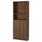 БИЛЛИ / ОКСБЕРГ Стеллаж с дверьми, коричневый ясеневый шпон, 80x30x202 см