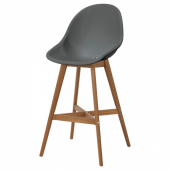 ФАНБЮН Барный стул для дома/сада, серый, 64 см