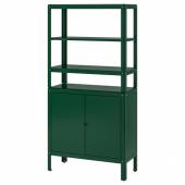 КОЛЬБЬЁРН Стеллаж с 1 шкафчиком, зеленый, 80x37x161 см