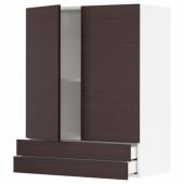 МЕТОД / МАКСИМЕРА Навесной шкаф/2дверцы/2ящика, белый Аскерсунд, темно-коричневый под ясень, 80x100 см
