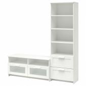 БРИМНЭС Шкаф для ТВ, комбинация, белый, 180x41x190 см