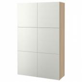 БЕСТО Комбинация для хранения с дверцами, под беленый дуб, Лаксвикен белый, 120x40x192 см
