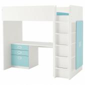 СТУВА / ФРИТИДС Кровать-чердак/3 ящика/2 дверцы, белый, голубой, 207x99x182 см