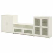 БРИМНЭС Шкаф для ТВ, комбин/стеклян дверцы, белый, 276x41x95 см