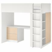 СМОСТАД Кровать-чердак, белый береза, с письменным столом с 3 ящиками, 90x200 см