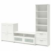 БРИМНЭС Шкаф для ТВ, комбинация, белый, 258x41x190 см