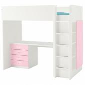 СТУВА / ФРИТИДС Кровать-чердак/4 ящика/2 дверцы, белый, светло-розовый, 207x99x182 см