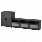 БРИМНЭС Шкаф для ТВ, комбинация, черный, 258x41x95 см