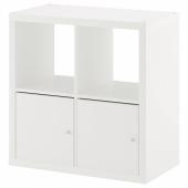 КАЛЛАКС Стеллаж с дверцами, белый, 77x77 см