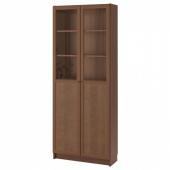 БИЛЛИ Стеллаж/панельные/стеклянные двери, коричневый, ясеневый шпон, 80x30x202 см