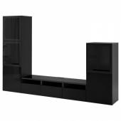 БЕСТО Шкаф для ТВ, комбин/стеклян дверцы, черно-коричневый, Сельсвикен глянцевый/черный прозрачное стекло, 300x42x193 см