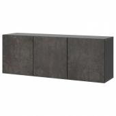 БЕСТО Комбинация настенных шкафов, черно-коричневый, Кэлльвикен под бетон, 180x42x64 см