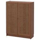 БИЛЛИ / ОКСБЕРГ Стеллаж с дверьми, коричневый ясеневый шпон, 80x30x106 см
