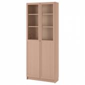 БИЛЛИ Стеллаж/панельные/стеклянные двери, дубовый шпон, беленый, 80x30x202 см