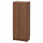 БИЛЛИ / ОКСБЕРГ Стеллаж с дверью, коричневый ясеневый шпон, 40x30x106 см