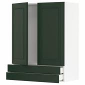 МЕТОД / МАКСИМЕРА Навесной шкаф/2дверцы/2ящика, белый, Будбин темно-зеленый, 80x100 см