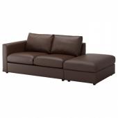 ВИМЛЕ 3-местный диван, с открытым торцом, Фарста темно-коричневый