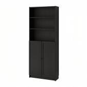 БИЛЛИ / ОКСБЕРГ Стеллаж с дверьми, черно-коричневый, 80x30x202 см