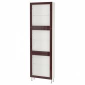 БЕСТО Комбинация д/хранения+стекл дверц, белый глассвик/сталларп, темный красно-коричневый прозрачное стекло, 60x22x202 см